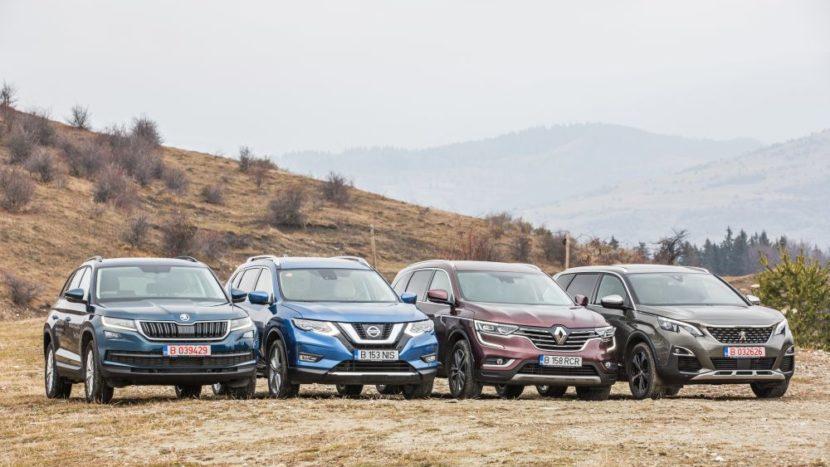 Test comparativ: Peugeot 5008, Skoda Kodiaq, Nissan X-Trail și Renault Koleos